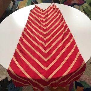 ASOS 00 cream and red maxi spaghetti strap dress